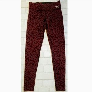 VS Pink Leopard Plum Purple Yoga Workout Leggings